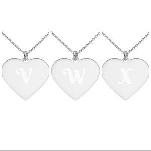 """Jewelry - """"V,W,X"""" Heart Pendant Engraved Necklaces"""